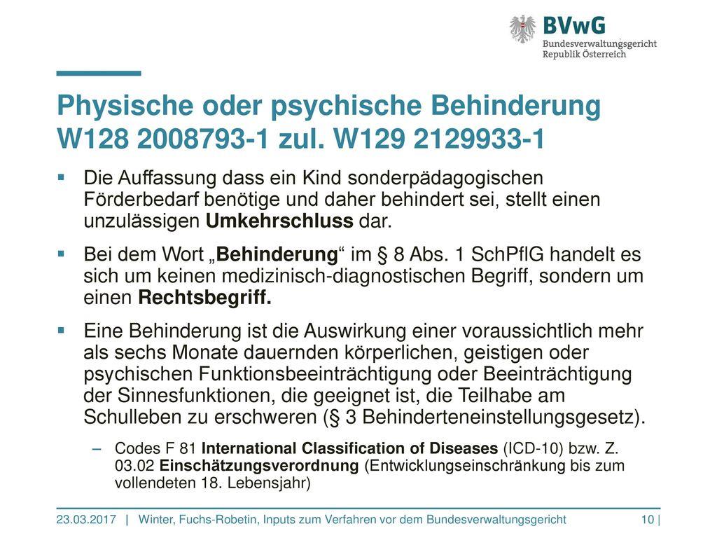 Physische oder psychische Behinderung W128 2008793-1 zul