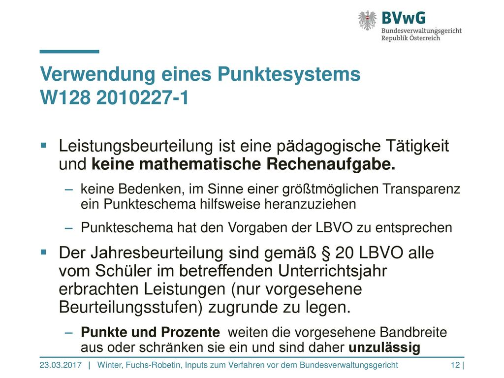 Verwendung eines Punktesystems W128 2010227-1