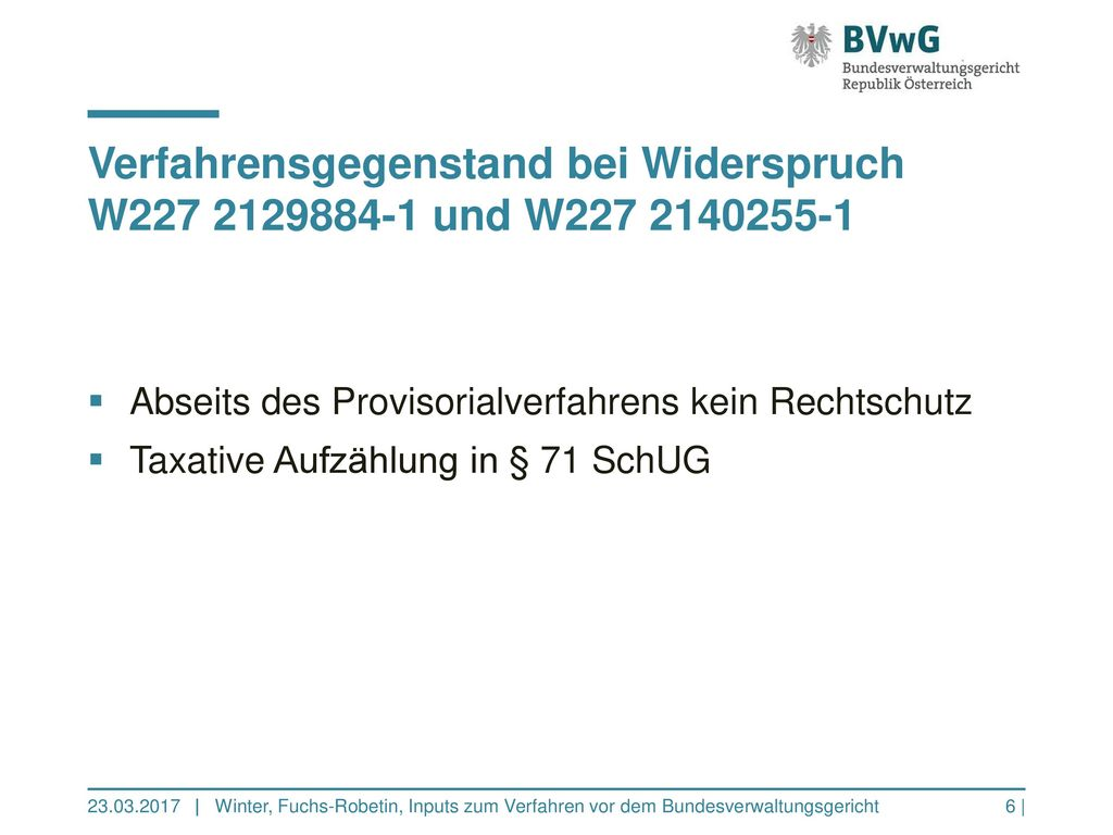 Verfahrensgegenstand bei Widerspruch W227 2129884-1 und W227 2140255-1