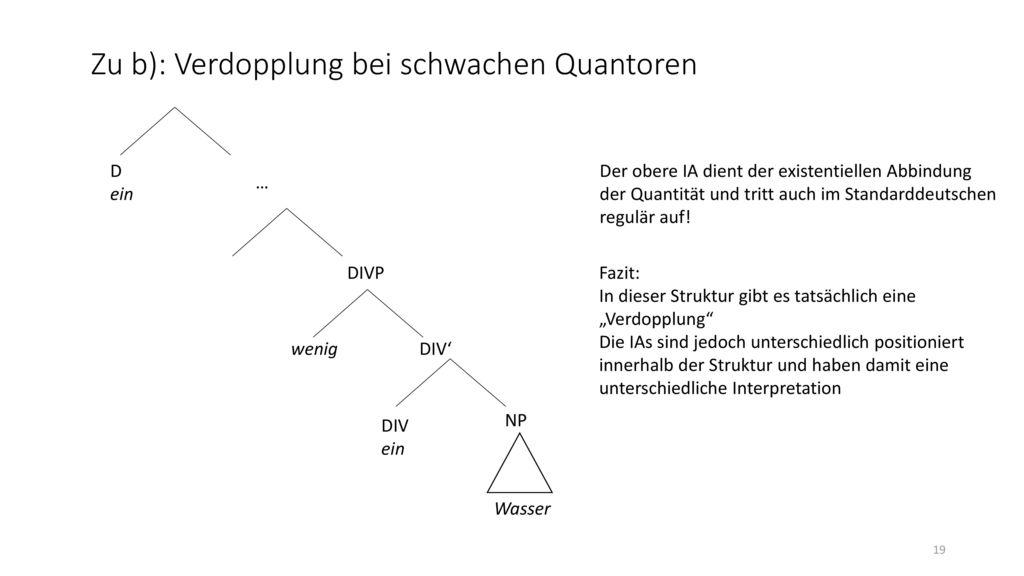 Zu b): Verdopplung bei schwachen Quantoren