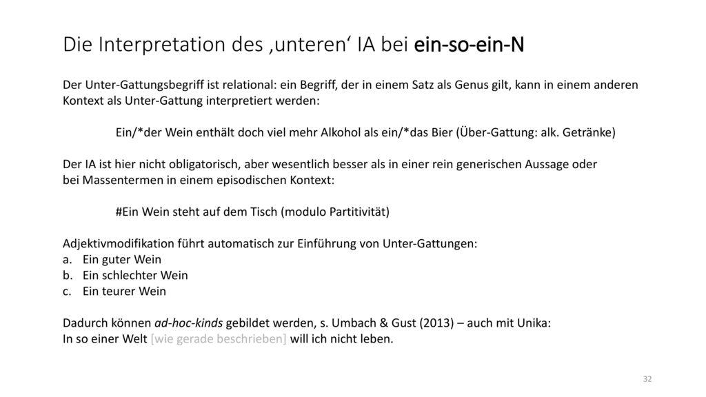 Die Interpretation des 'unteren' IA bei ein-so-ein-N