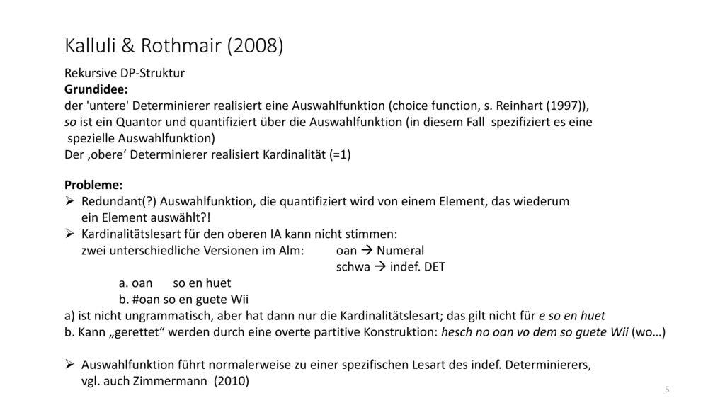 Kalluli & Rothmair (2008) Rekursive DP-Struktur