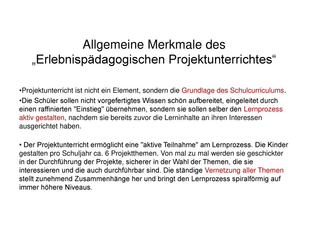 """Allgemeine Merkmale des """"Erlebnispädagogischen Projektunterrichtes"""