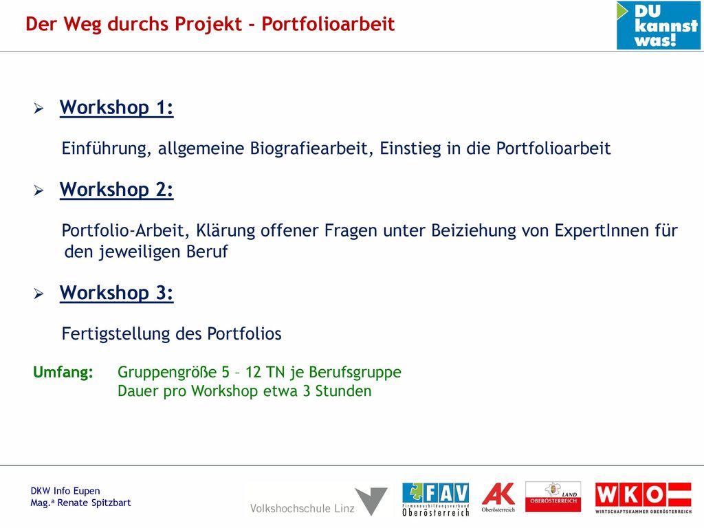 Der Weg durchs Projekt - Portfolioarbeit