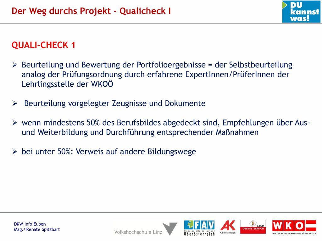 Der Weg durchs Projekt - Qualicheck I