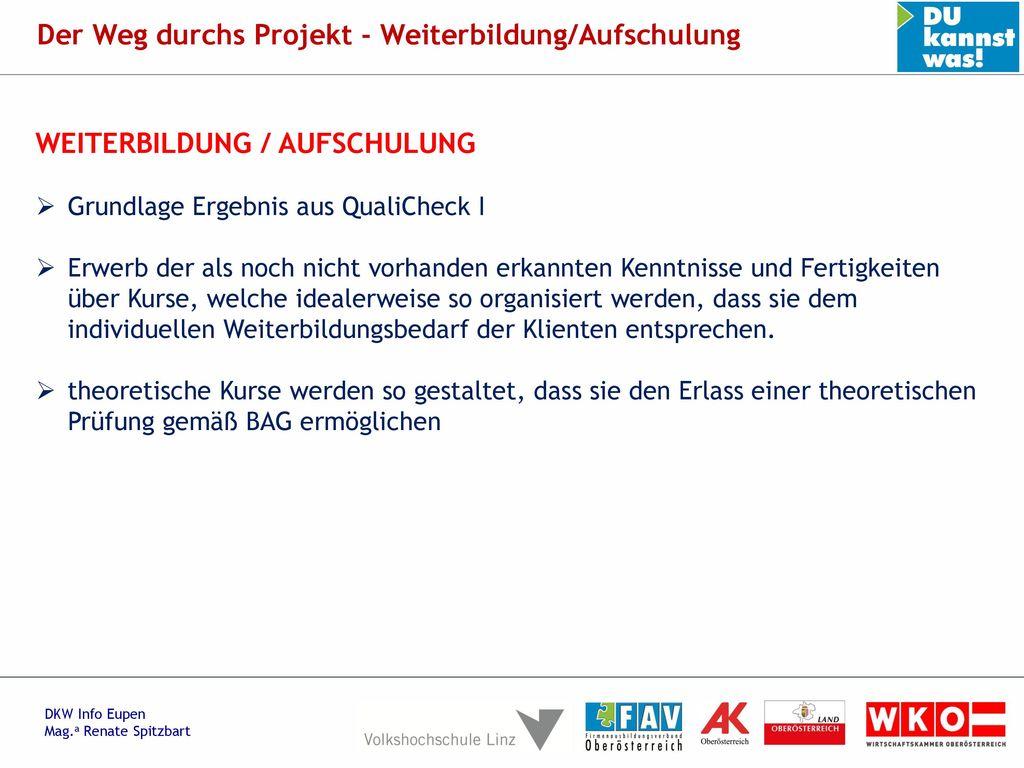Der Weg durchs Projekt - Weiterbildung/Aufschulung