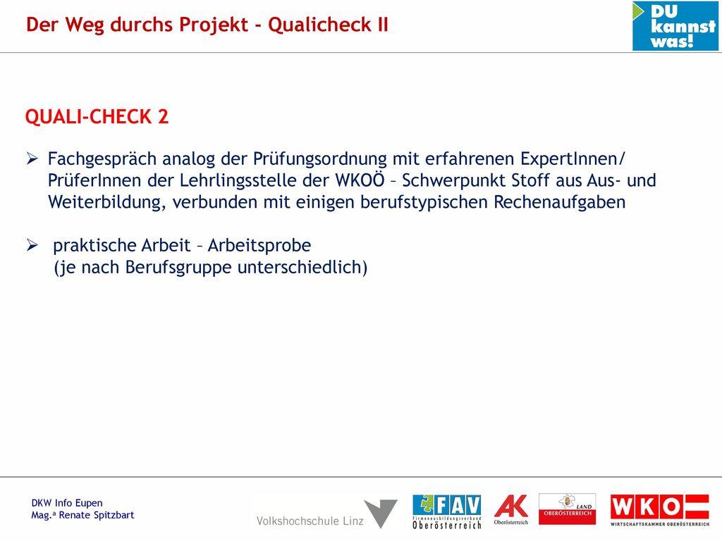 Der Weg durchs Projekt - Qualicheck II