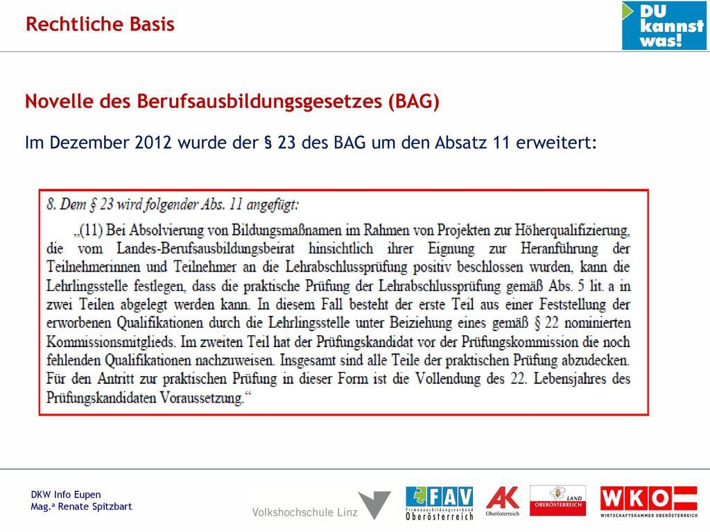 Novelle des Berufsausbildungsgesetzes (BAG)
