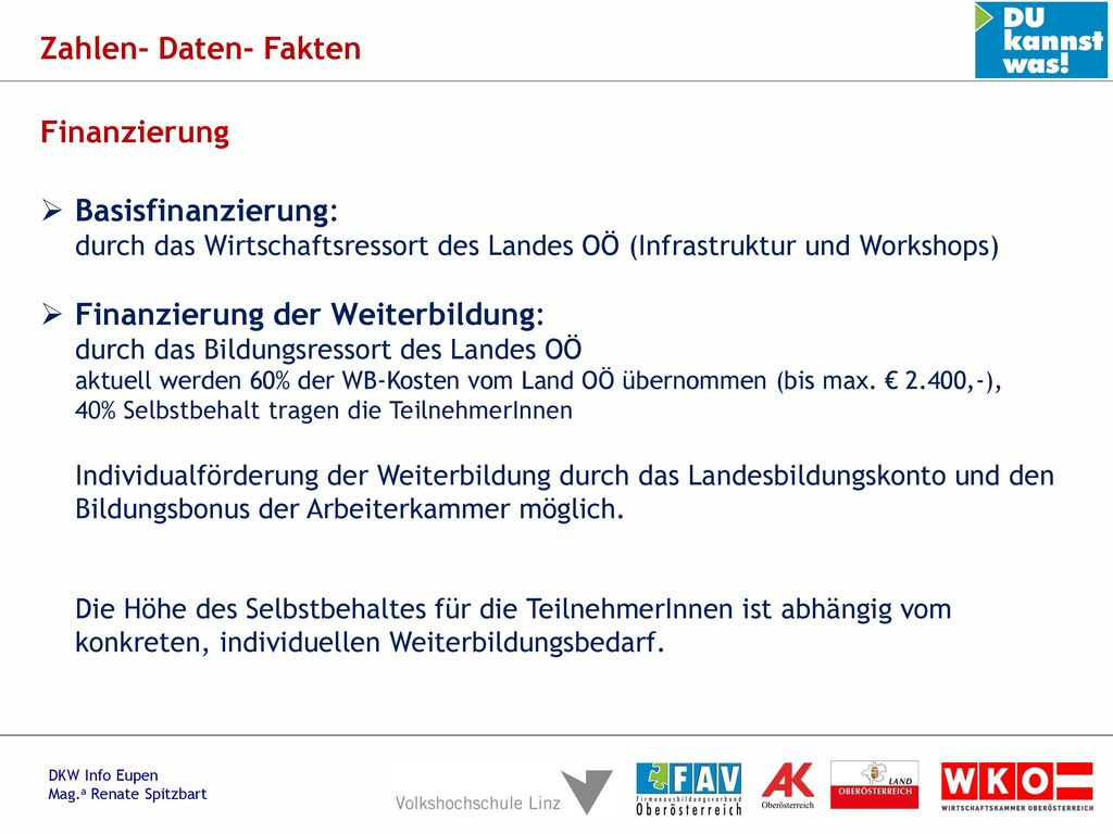 Zahlen- Daten- Fakten Finanzierung. Basisfinanzierung: durch das Wirtschaftsressort des Landes OÖ (Infrastruktur und Workshops)