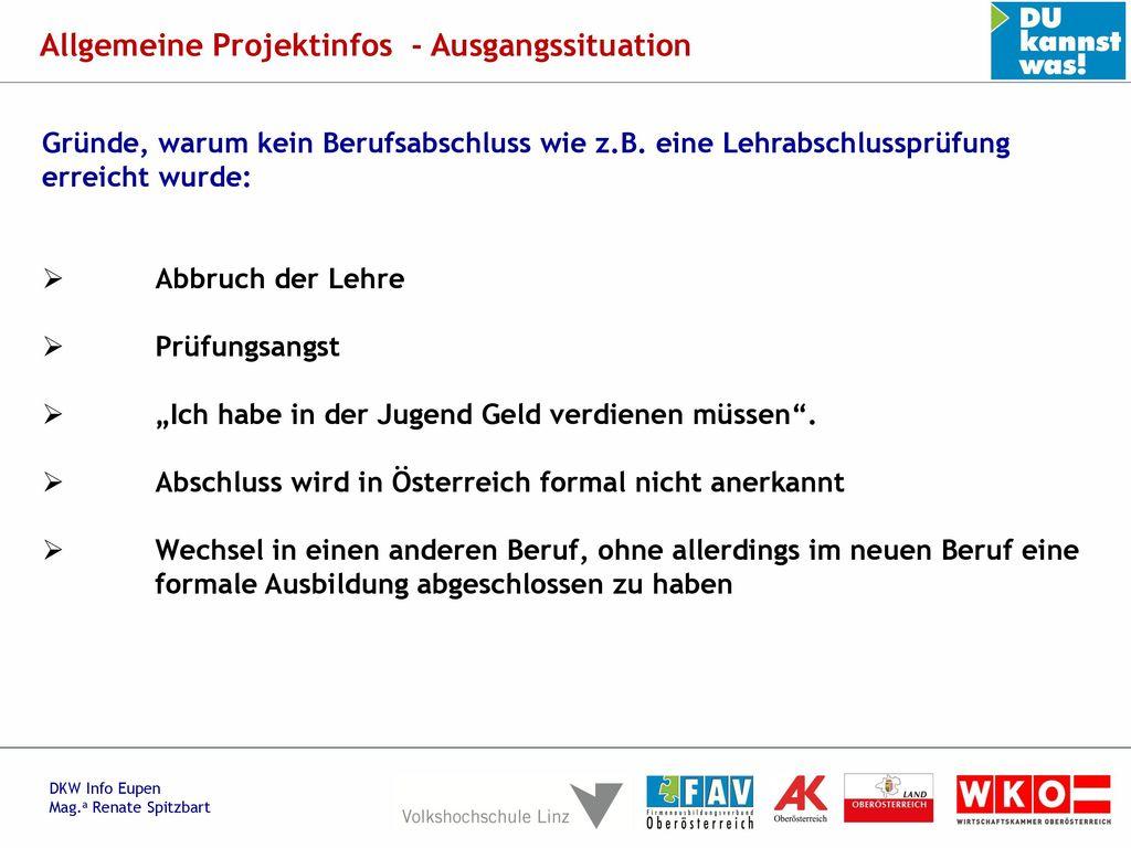Allgemeine Projektinfos - Ausgangssituation