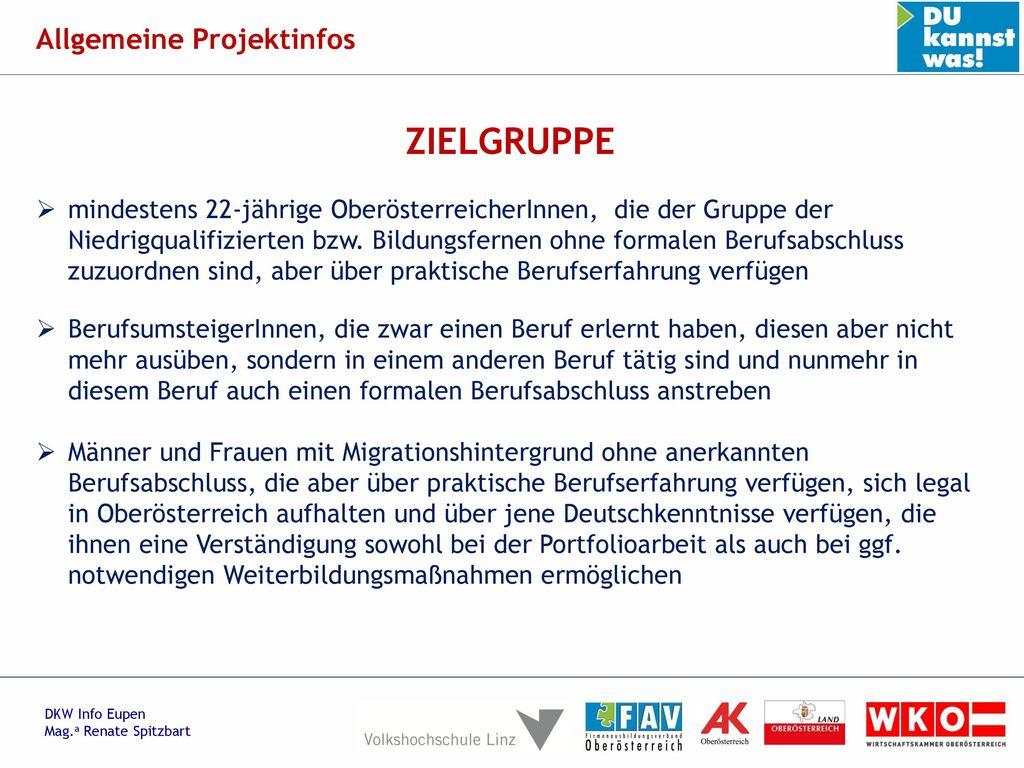 ZIELGRUPPE Allgemeine Projektinfos
