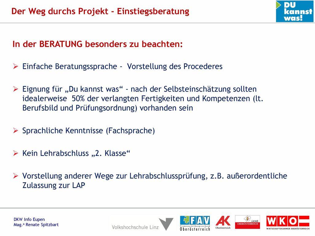 Der Weg durchs Projekt - Einstiegsberatung