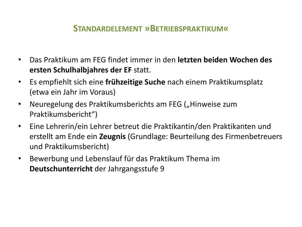 Standardelement »Betriebspraktikum«