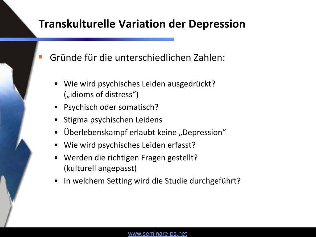 Transkulturelle Variation der Depression