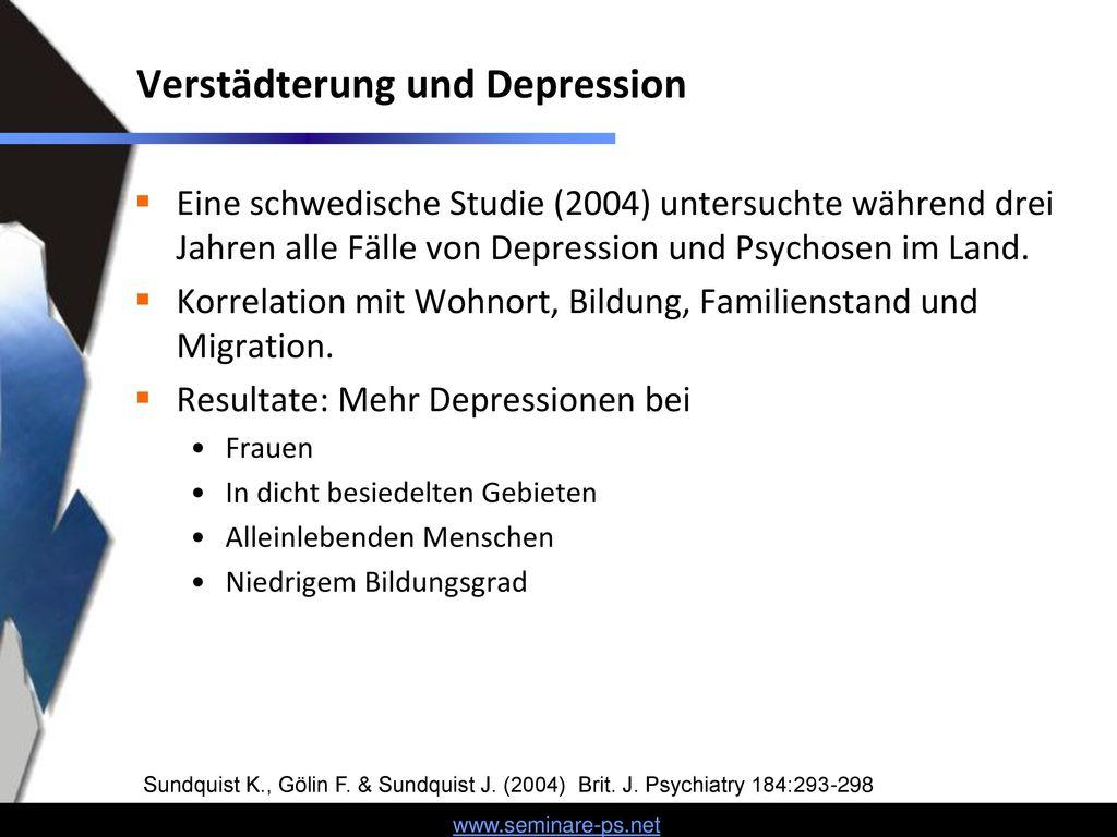 Verstädterung und Depression
