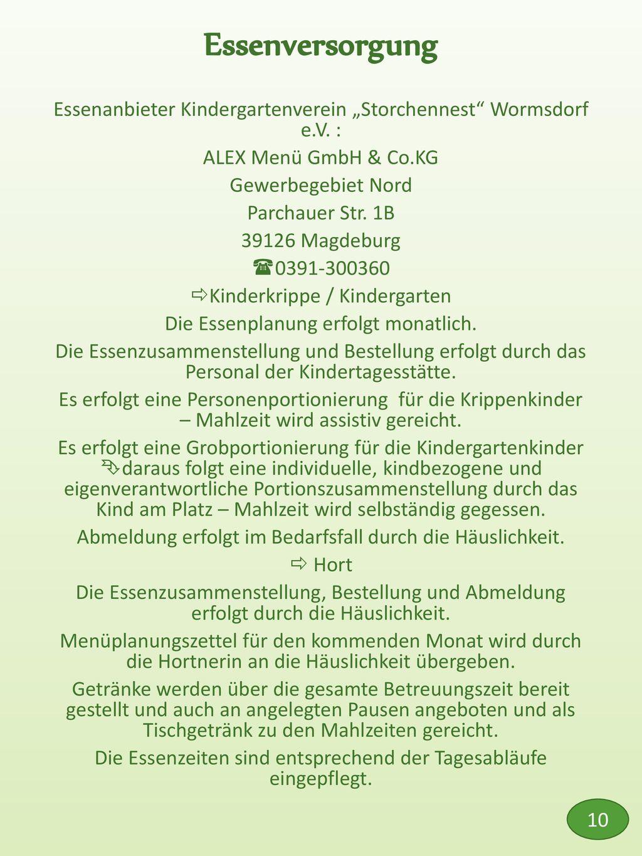 """Essenversorgung Essenanbieter Kindergartenverein """"Storchennest Wormsdorf e.V. : ALEX Menü GmbH & Co.KG."""