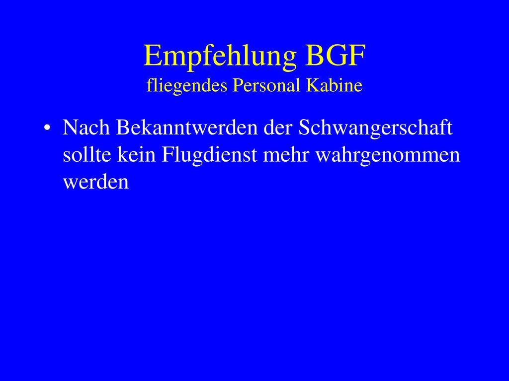 Empfehlung BGF fliegendes Personal Kabine