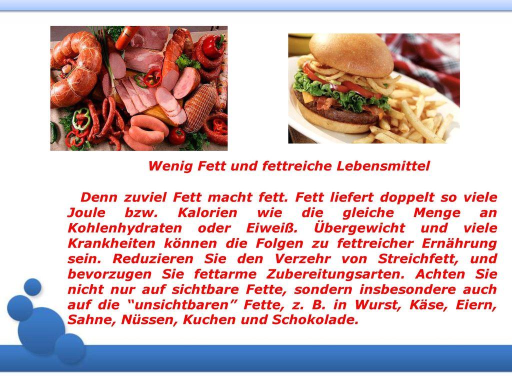 Wenig Fett und fettreiche Lebensmittel