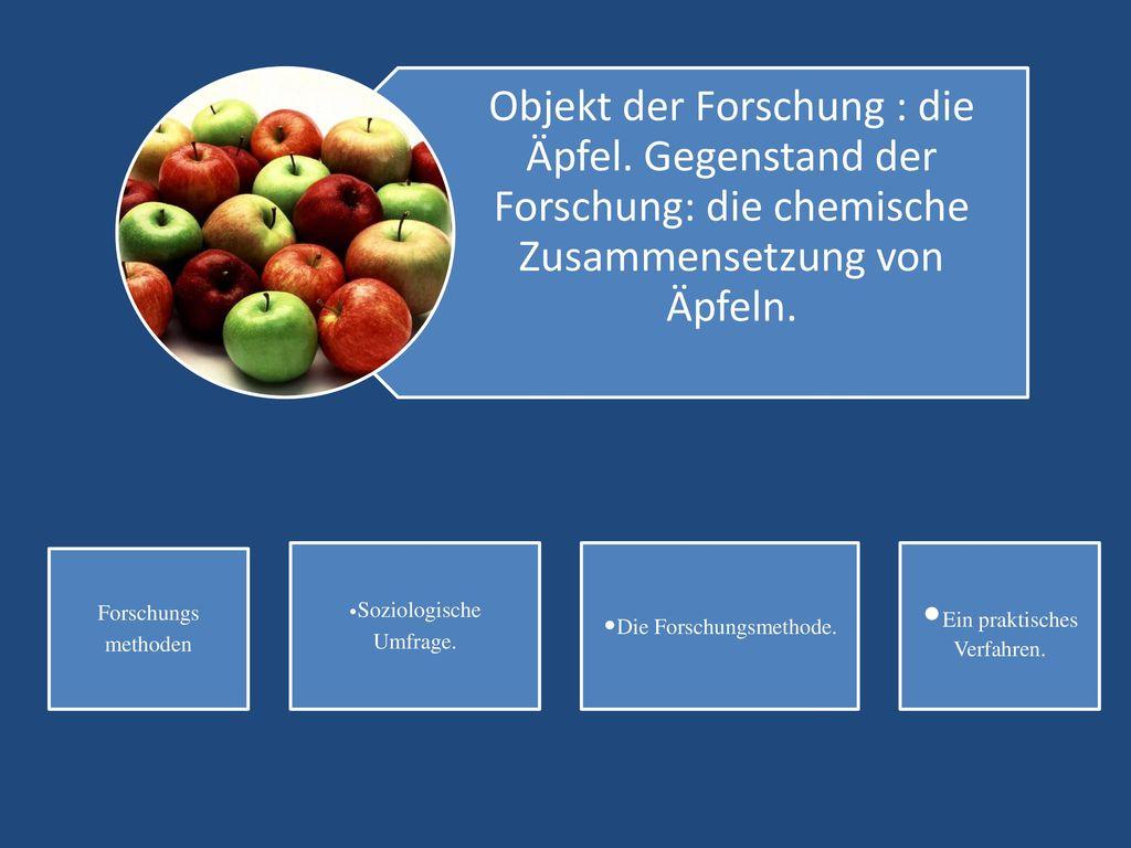 Objekt der Forschung : die Äpfel