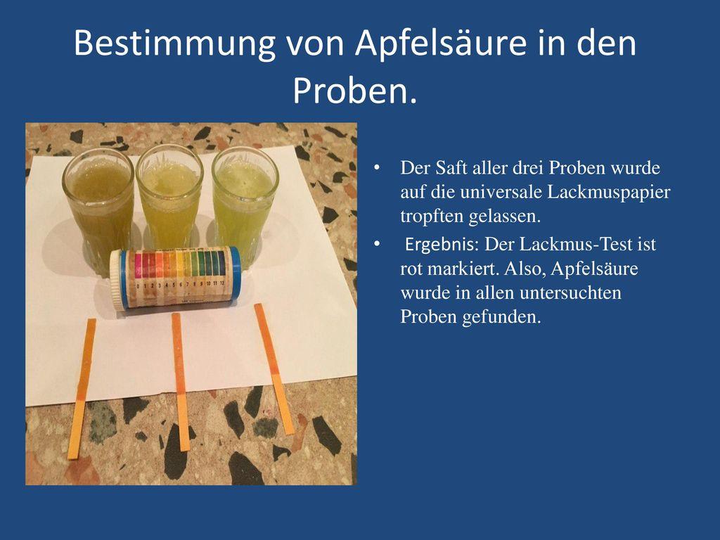 Bestimmung von Apfelsäure in den Proben.
