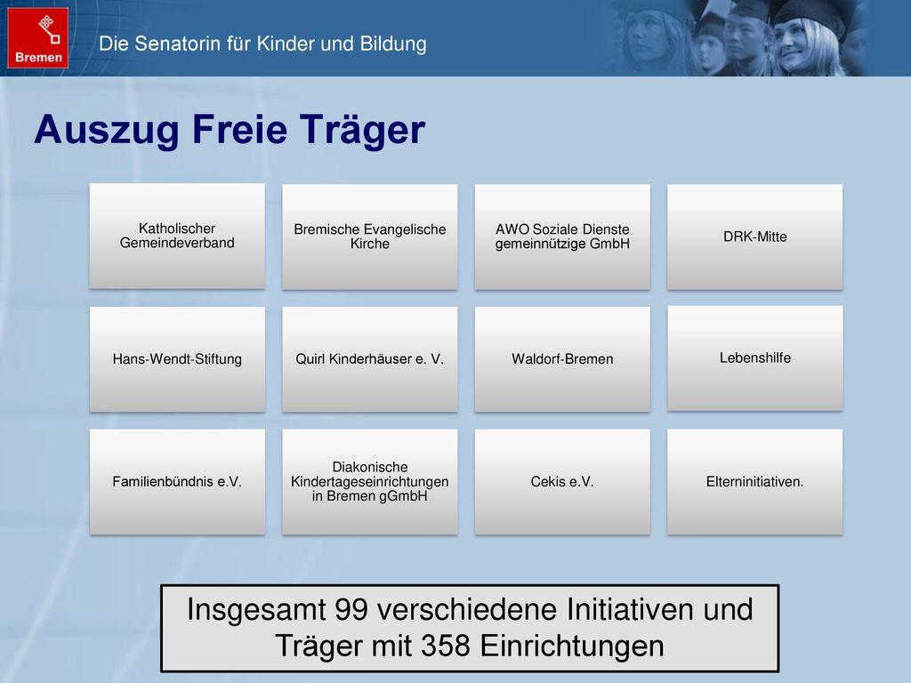 Auszug Freie Träger Katholischer Gemeindeverband. Bremische Evangelische Kirche. AWO Soziale Dienste gemeinnützige GmbH.