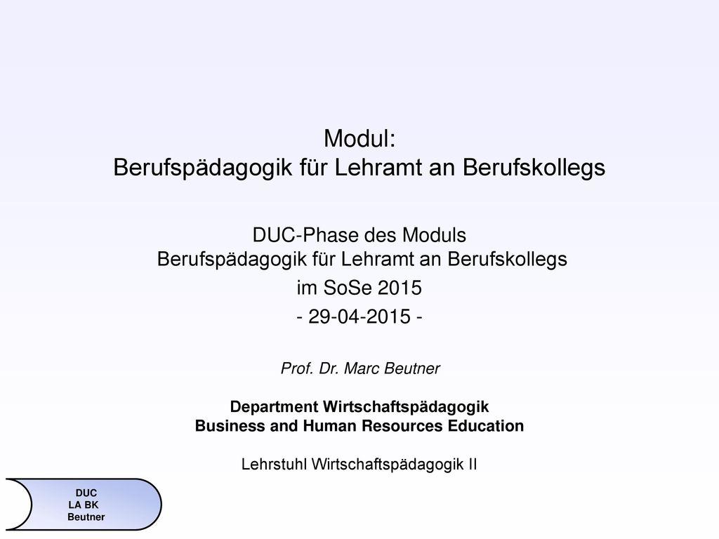 Modul: Berufspädagogik für Lehramt an Berufskollegs