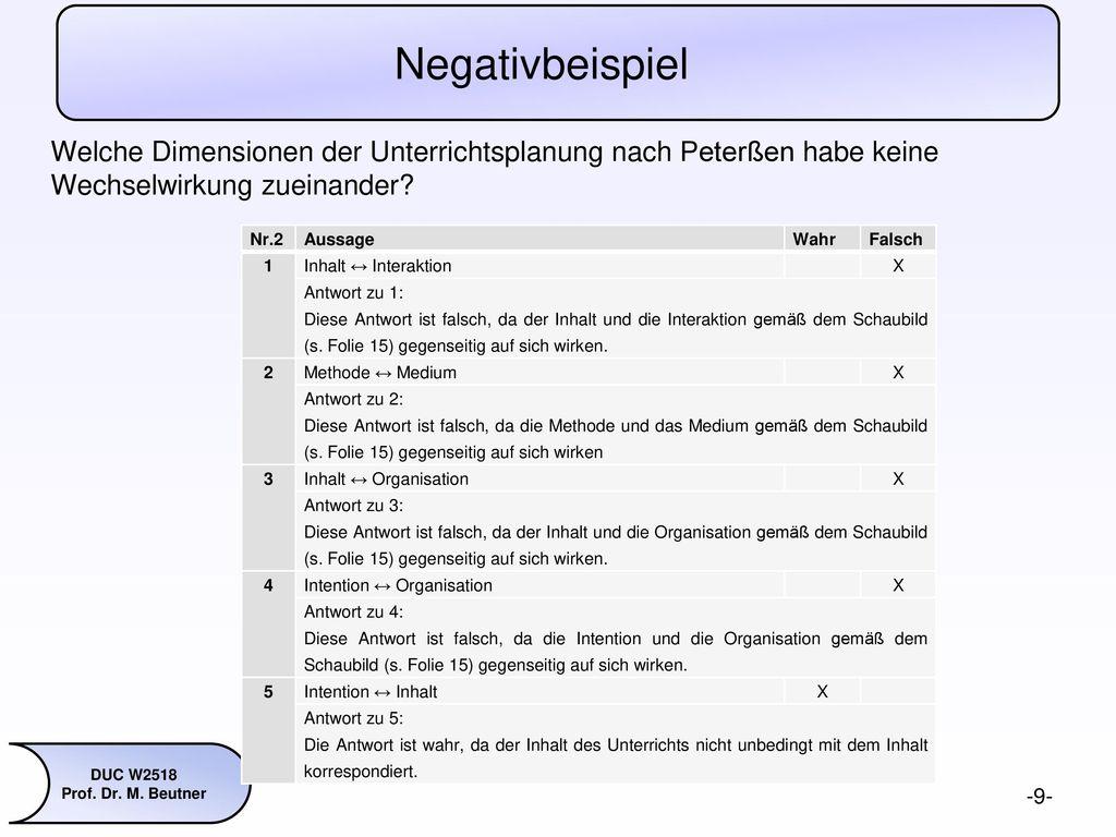 Negativbeispiel Welche Dimensionen der Unterrichtsplanung nach Peterßen habe keine Wechselwirkung zueinander