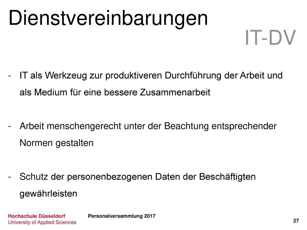 Dienstvereinbarungen IT-DV
