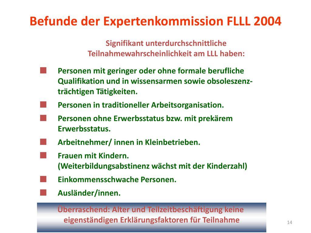 Befunde der Expertenkommission FLLL 2004
