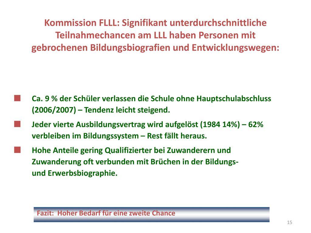 Kommission FLLL: Signifikant unterdurchschnittliche Teilnahmechancen am LLL haben Personen mit gebrochenen Bildungsbiografien und Entwicklungswegen: