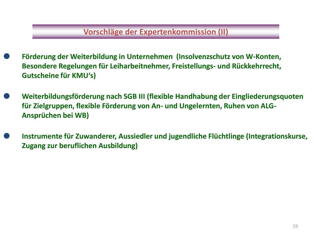 Vorschläge der Expertenkommission (II)