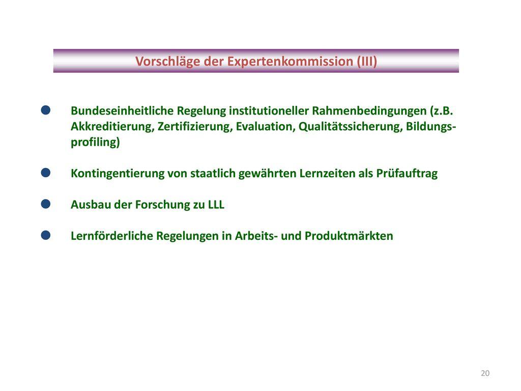 Vorschläge der Expertenkommission (III)