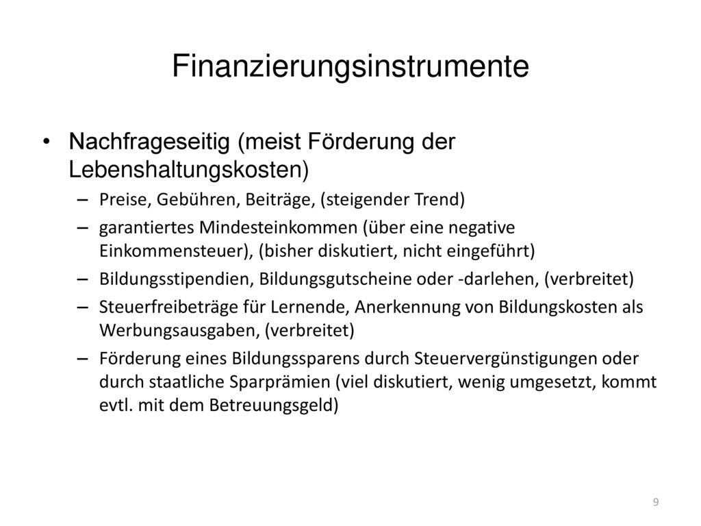 Finanzierungsinstrumente