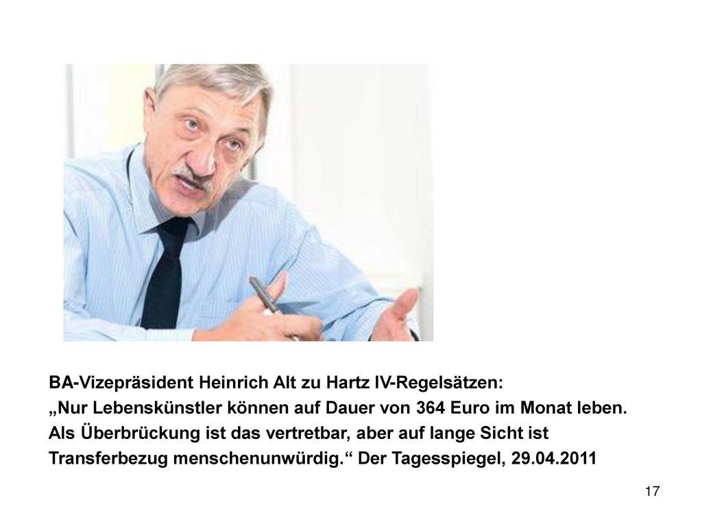 BA-Vizepräsident Heinrich Alt zu Hartz IV-Regelsätzen: