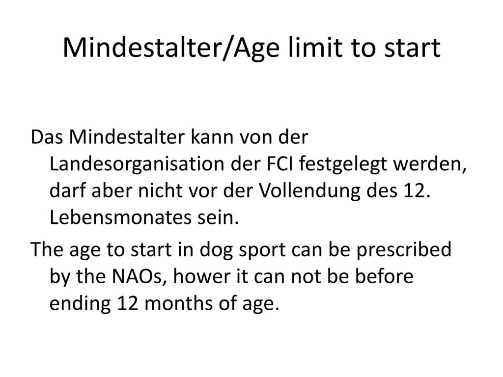 Mindestalter/Age limit to start