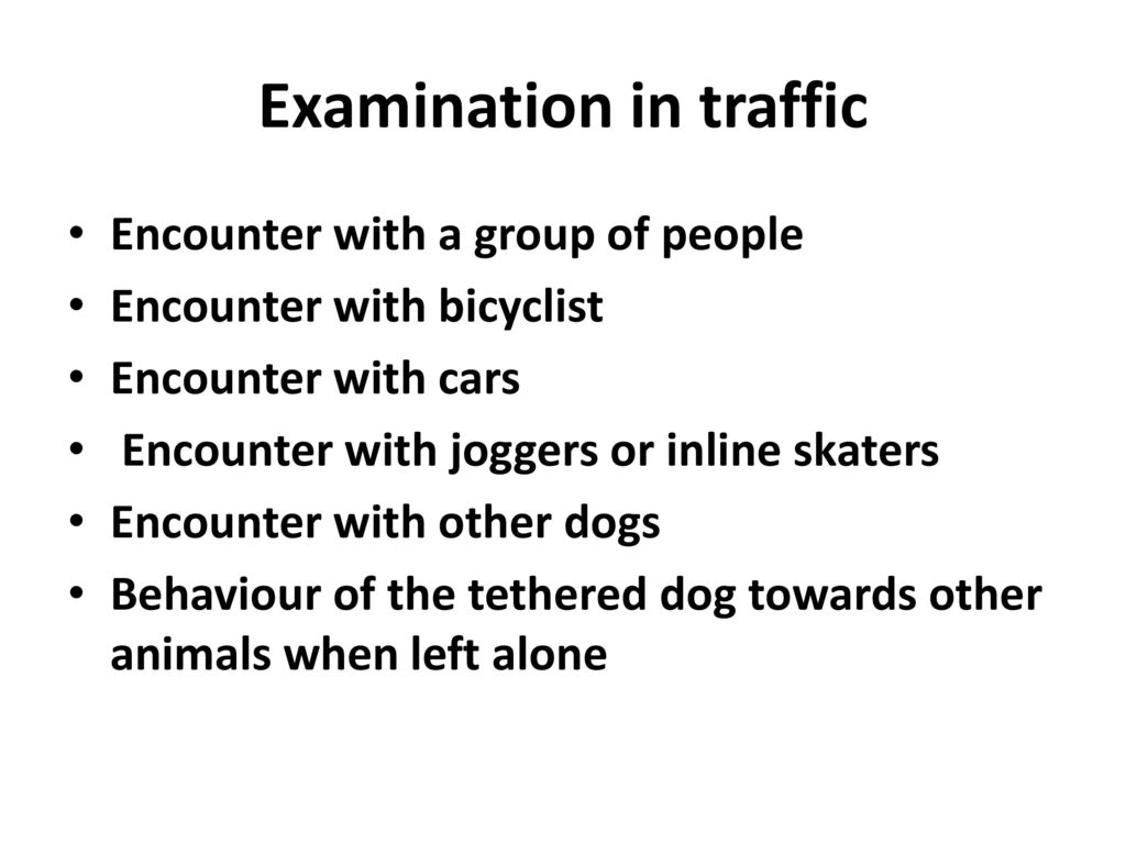 Examination in traffic
