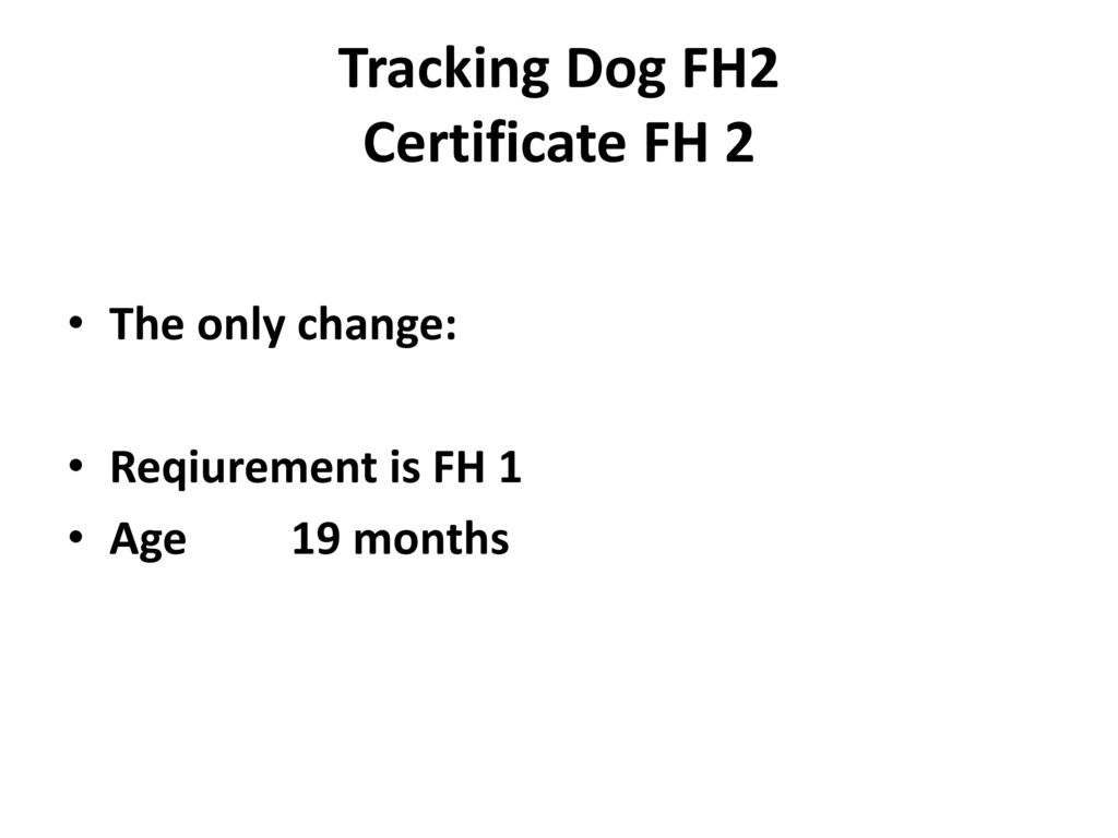 Tracking Dog FH2 Certificate FH 2
