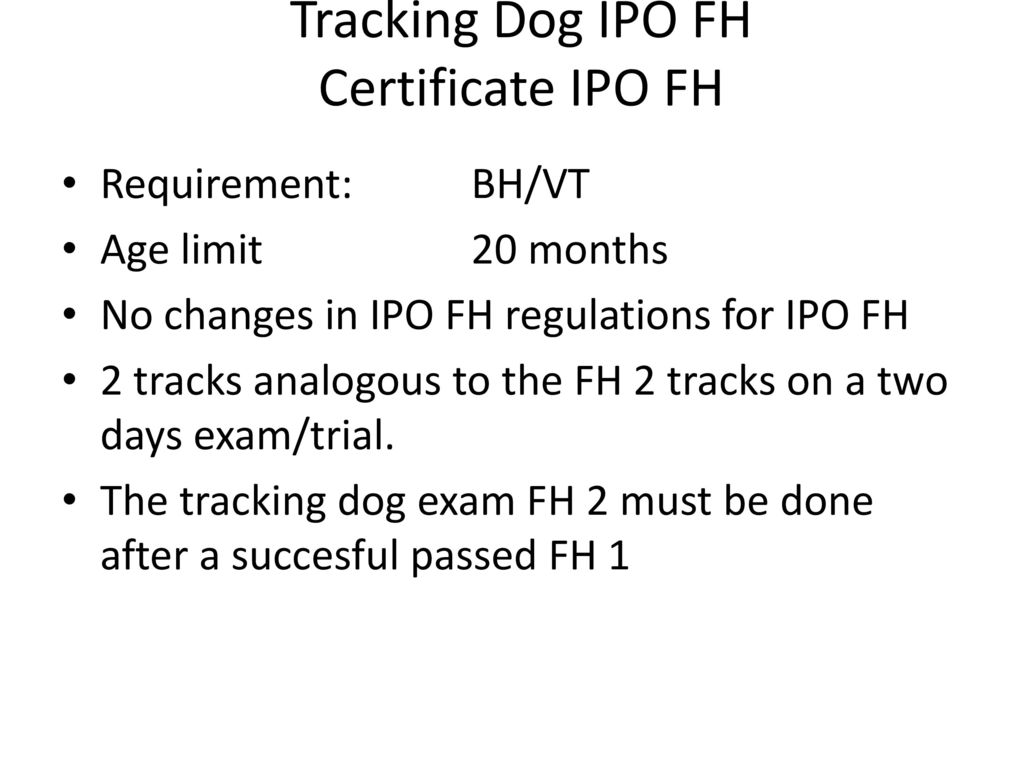 Tracking Dog IPO FH Certificate IPO FH