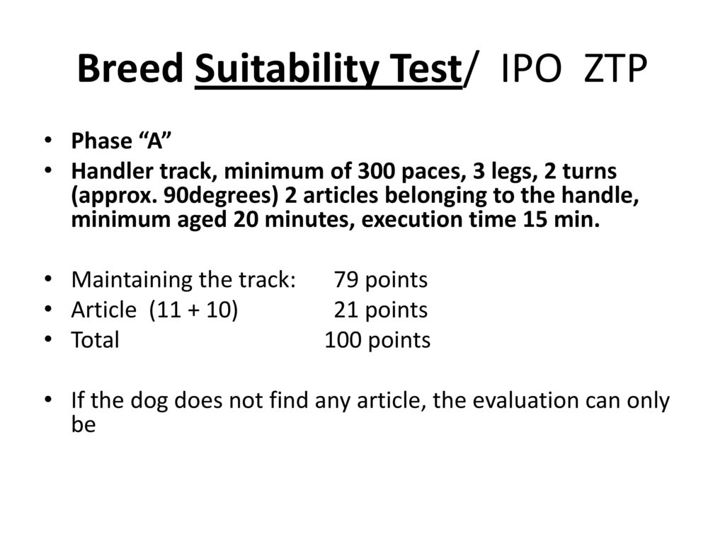 Breed Suitability Test/ IPO ZTP