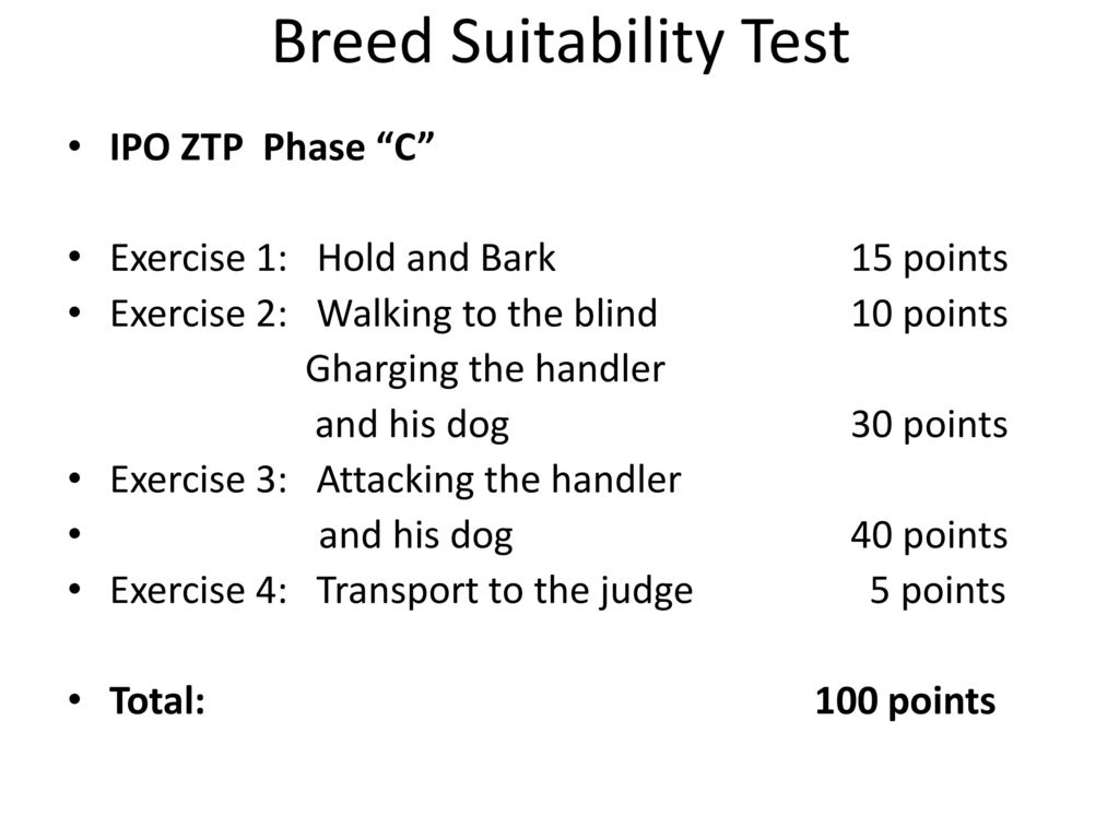 Breed Suitability Test