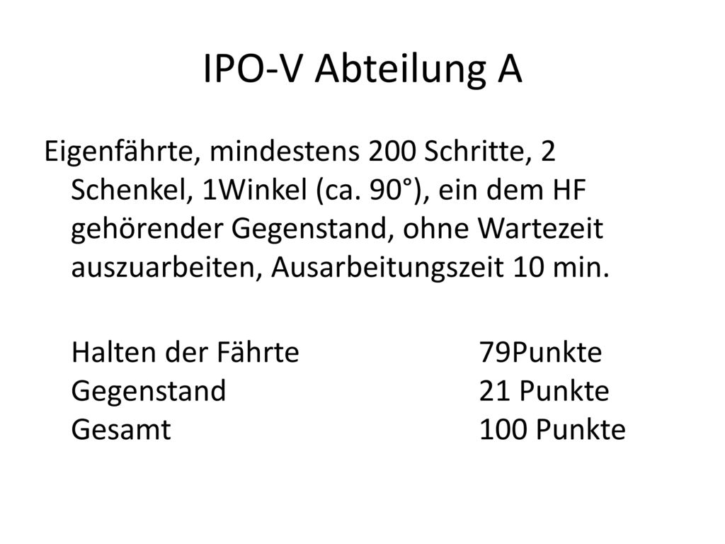 IPO-V Abteilung A