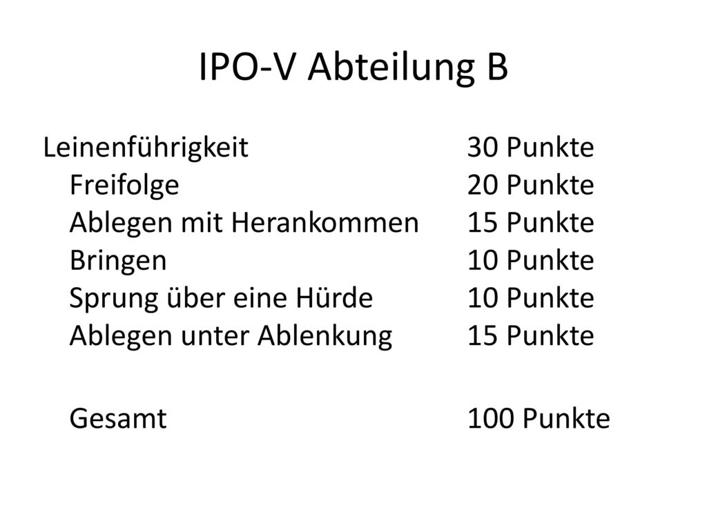 IPO-V Abteilung B