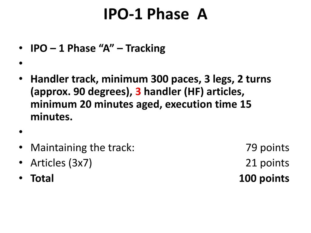 IPO-1 Phase A IPO – 1 Phase A – Tracking