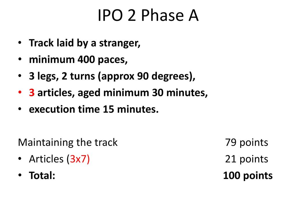 IPO 2 Phase A Track laid by a stranger, minimum 400 paces,