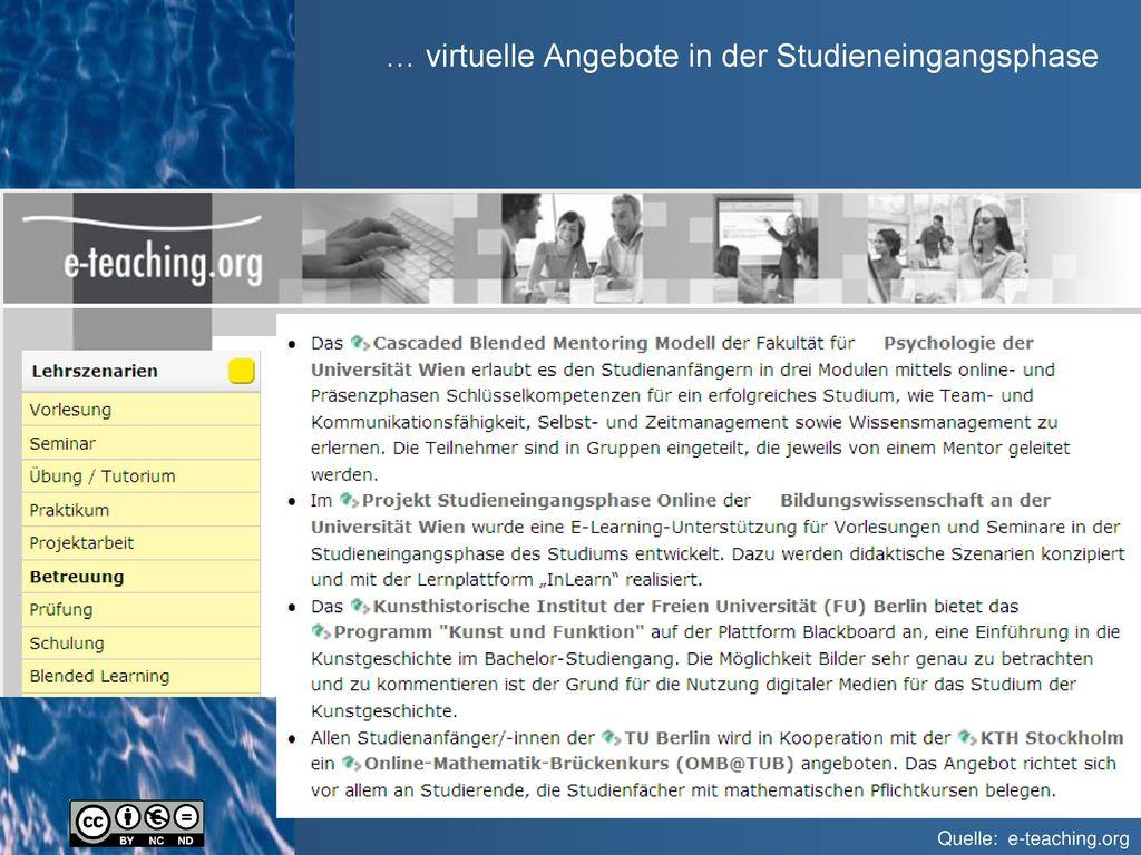 … virtuelle Angebote in der Studieneingangsphase
