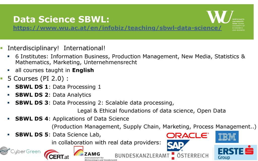 Data Science SBWL: https://www. wu. ac