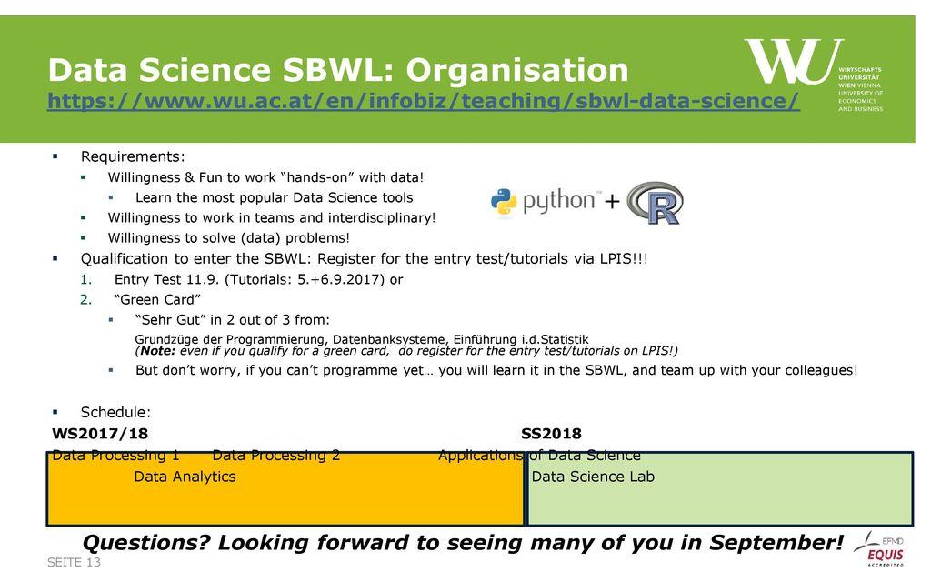 Data Science SBWL: Organisation https://www. wu. ac