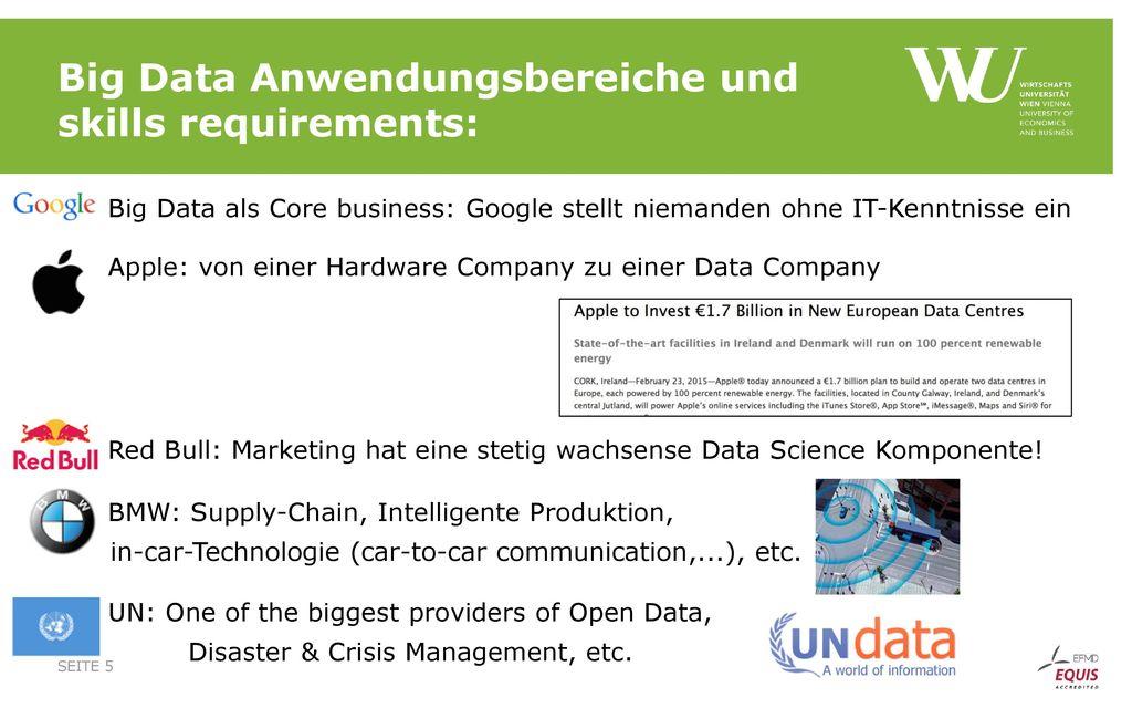 Big Data Anwendungsbereiche und skills requirements: