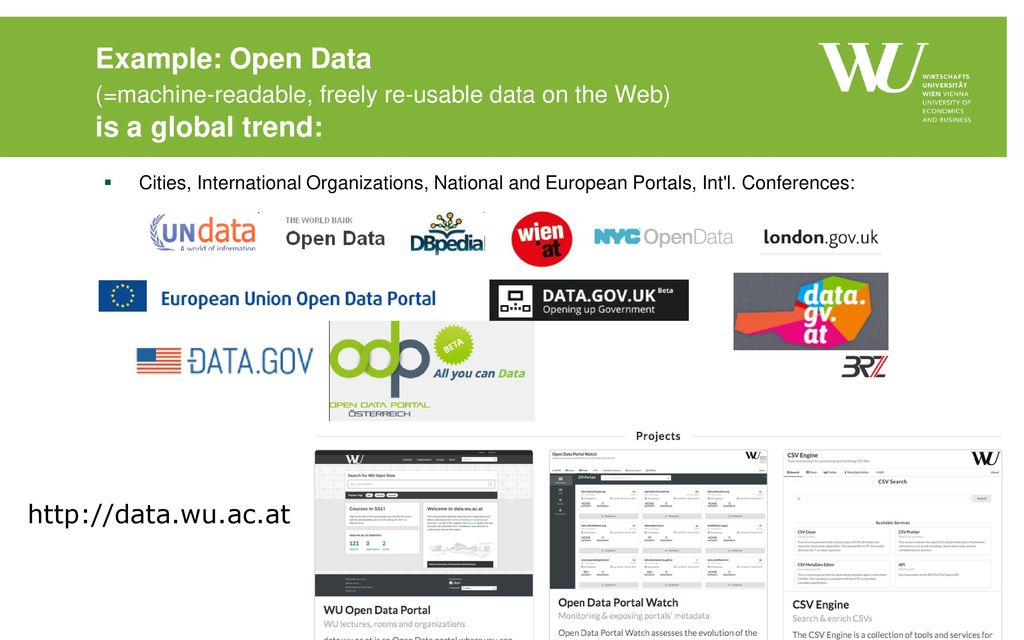 Example: Open Data (=machine-readable, freely re-usable data on the Web) is a global trend: