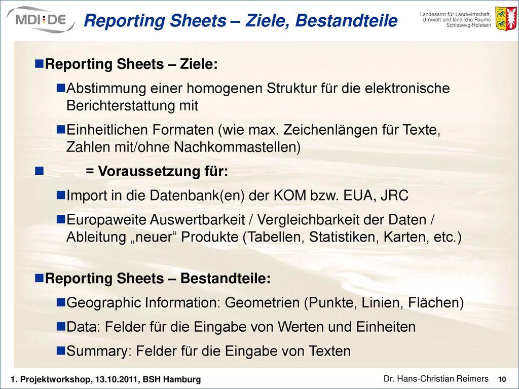 Reporting Sheets – Ziele, Bestandteile